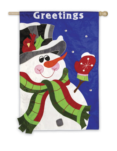 House Flag Snowman Greetings